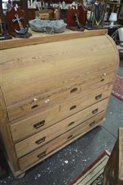 Sale 8099 - Lot 809 - Pine Cylinder Top Writing Desk w Mahogany Inlaid Fitted Interior