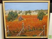 Sale 8491 - Lot 2054 - Jim Keller - After the Harvest, Mudgee, acrylic on canvas, frame size: 54.5 x 64cm, signed lower right