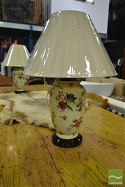 Sale 8507 - Lot 1030 - Pair of Belgium Table Lamps with Floral Motifs (3407)