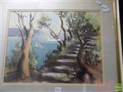 Sale 8509 - Lot 2015 - L.Litchfield Yacht in the Bay Framed Watercolour SLR