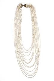 Sale 8605 - Lot 445 - A MULTI STRAND PEARL NECKLACE; 12 strands of seed pearls to silver gilt chain and clasp, 42cm.