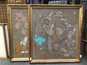 Sale 8726 - Lot 2083 - Pair of Thai Paintings on Silk, 54 x 50 (frame size)