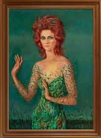Sale 8934H - Lot 77 - Sofia Franco, Portrait of Young Lady - Roma 1971, oil on canvas, 96cm x 69cm, signed and inscribed verso