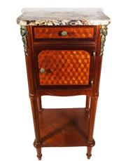 Sale 8940J - Lot 90 - Antique French c 1920 marquetry inlaid and marble top bed side cabinet approx.. 83 x 42 cm