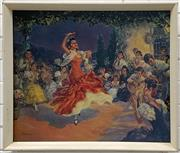 Sale 9077 - Lot 2016 - Retro Print of a Spanish Fiesta and Dancer, 56 x 66cm