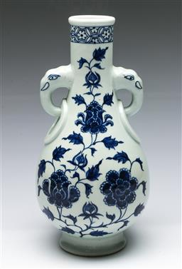 Sale 9164 - Lot 67 - A blue and white elephant handled vase (H:33cm)