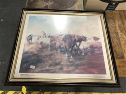 Sale 9176 - Lot 2093 - Hugh Sawrey Bringing up the Tail End of the Mob decorative print 50 x 59cm (frame) signed -