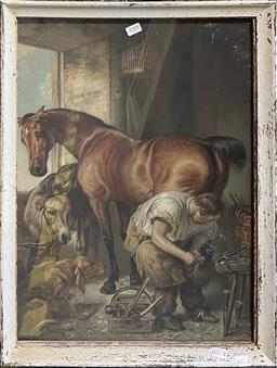 Sale 9163 - Lot 2088 - Antique Pears chromolithograph Shoeing, 1844 by Edwin Henry Landseer 61 x 46cm (frame)