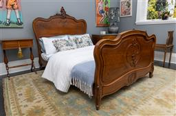 Sale 9248H - Lot 129 - A French provincial Louis XV style bed with carved head and foot boards (mattress not included) Height 145cm Width 140cm Length 188cm