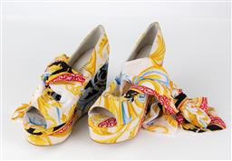 Sale 9250F - Lot 32 - A pair of Mollini Versace style wedges, size 37.