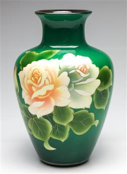 Sale 9238 - Lot 92 - A ceramic green ground vase featuring roses with gilt highlights (H:28cm)