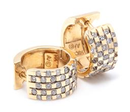 Sale 9260H - Lot 321 - A pair of 14ct gold diamond hoop earrings; 8mm wide hoops with fronts set with round brilliant cut diamonds (4 missing diamonds) to...