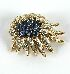 Sale 3701 - Lot 419 - AN 18CT WHITE AND YELLOW AND GOLD DIAMOND AND SAPPHIRE SPRAY BROOCH;