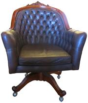 Sale 8258A - Lot 41 - Deep buttoned leather upholstered desk chair in excellent condition, RRP $1,450