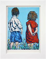 Sale 8309A - Lot 16 - David Bromley (1960 - ) - Two Children 28.5 x 21.5cm