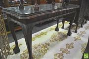 Sale 8338 - Lot 1428 - Carved Imbuia Side Serving Table with Glass Top, Single Drawer on Ball & Claw Feet