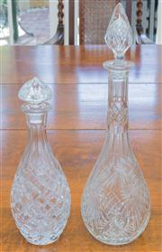 Sale 8402H - Lot 52 - Two cut glass decanters, taller 42cm.