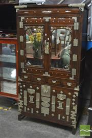 Sale 8406 - Lot 1134 - Korean Mirrored Two Door Cabinet With Mother Of Pearl Inlayed