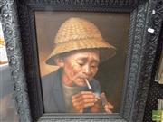 Sale 8461A - Lot 2023 - Indonesian School (XX) Untitled (Smoking Man), acrylic on canvas, framed.