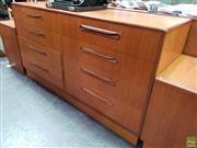 Sale 8607 - Lot 1028 - G-Plan Teak Chest of Eight Drawers (H: 76 W: 142 D: 44cm)