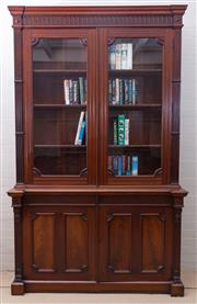 Sale 8550H - Lot 119 - An impressive tall antique English mahogany library bookcase C:1840, the stepped decorative cornice above reeded glazed doors enclos...