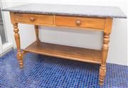Sale 8575H - Lot 64 - An antique rustic marble top wash stand on timber base with two drawers, circa 1900 H: 76cm W: 115cm D: 54cm Ex $1200