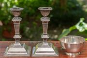 Sale 9071H - Lot 81 - A pair of James Dixon & Son EPNS candlesticks of classical form together with a Hardy Brothers bowl