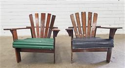 Sale 9102 - Lot 1272 - Pair of vintage timber sunrise chairs (h:68 x w:75 x d:42cm)