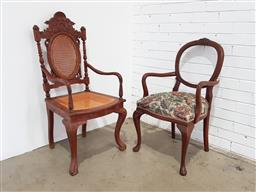 Sale 9188 - Lot 1424 - Dutch Colonial Style Teak Armchair Together with Another, the first with caned back & seat, the other with balloon back & floral uph...
