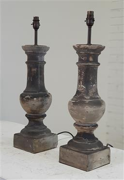 Sale 9166 - Lot 1068 - Pair of stone table lamps (h:60cm)