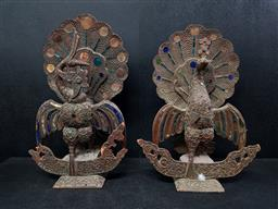 Sale 9254 - Lot 2384 - A pair of peacock wood carvings with colourful inlay - some losses (H:46cm)