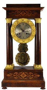 Sale 7988 - Lot 78 - French Inlaid Rosewood Portico Clock