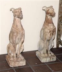 Sale 8171A - Lot 4 - A pair of composition stone seated greyhound garden figures, H 78cm