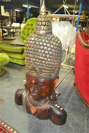 Sale 8175 - Lot 1023 - Large Wooden Buddha Bust