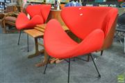 Sale 8260 - Lot 1057 - Pair of Red Upholstered Lip Chairs (Prototype)