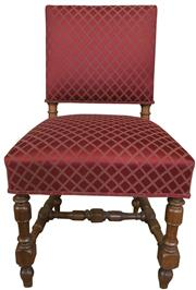 Sale 8258A - Lot 42 - Set of eight 19thC walnut chairs in the Arts and Crafts style upholstered in plush fabric, RRP $450 each