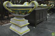 Sale 8359 - Lot 1029 - Pair of Large Possibly Italian Faience Garden Urns on Stands, each with four large loop handles & painted with bands of fruit, resti...