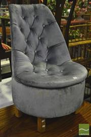 Sale 8368 - Lot 1091 - Powder Blue Velvet Upholstered Bedroom Chair