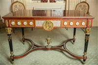 Sale 8392H - Lot 6 - A Louis XVI style marquetry top walnut centre table with porcelain roundels, ormolu mounts with caryatid supports all on stretcher b...