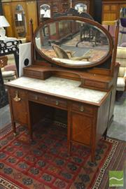 Sale 8402 - Lot 1045 - Sheraton Style Satinwood & Painted Dressing Table, with oval mirror and fabric panel top (as is), having two trinket & three further...