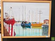 Sale 8491 - Lot 2034 - Jim Keller - Port Ferry, acrylic on canvas, frame size: 49 x 64cm, signed lower right