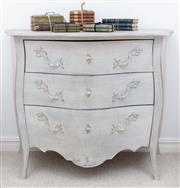 Sale 8866H - Lot 57 - A French limed bombe chest of three drawers on cabriole legs, Height 83cm, Width 100cm, Depth 52cm