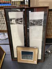 Sale 8927 - Lot 2070 - 3 Works: Pair of Prints of Prehistoric Man and Woman, together with a Blue Landscape oil painting by Unknown Artist