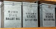 Sale 8984H - Lot 374 - A group of three galvanised ballot boxes from NSW 38 x 27 x 32
