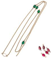 Sale 9046 - Lot 516 - A 10CT STONE SET NECKLACE; rope chain interspersed with collet set stone garnets and green doublets, damages, length 82cm, wt. 12.6g.