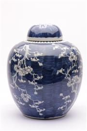 Sale 9032C - Lot 777 - A Large Cherry Blossom Decorated Blue And White Chinese Ginger Jar H: 30cm