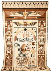 Sale 9048A - Lot 13 - Large Egyptian cotton and linen backed hand stitched wall hanging with Egyptian scenes and tomb style motifs (h:346 x 197cm) Purch...