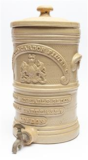 Sale 9054E - Lot 76 - A late Victorian stoneware lidded brewers water filter impressed  Silicated carbon filter co Patent movable block works Battersea...