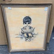 Sale 9077 - Lot 2082 - Retro ink and watercolour of a Boy Eating Watermelon by Franky -