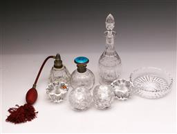 Sale 9104 - Lot 59 - A Guilloche and Sterling Silver Topped Scent Bottle Together with Glass Wares inc Decanters (Chipped to Stopper)